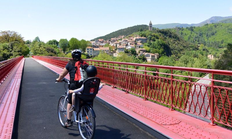 On the bridge entering Olargues