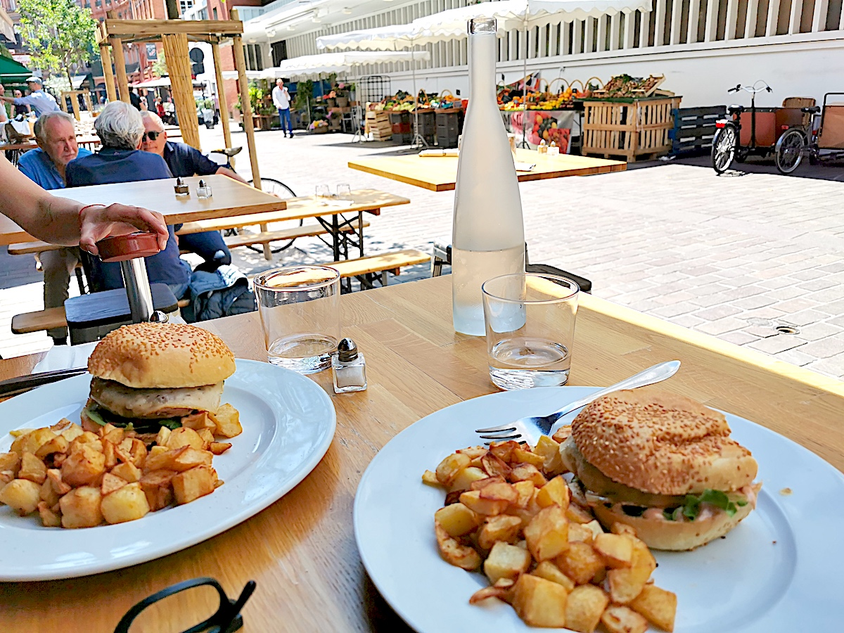 Duck Burgers at Maison Samaran outside the Victor Hugo Market in Toulouse